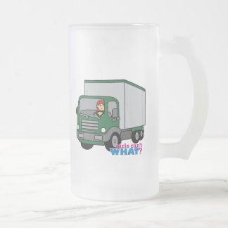 Truck Driver - Green Truck Frosted Glass Beer Mug