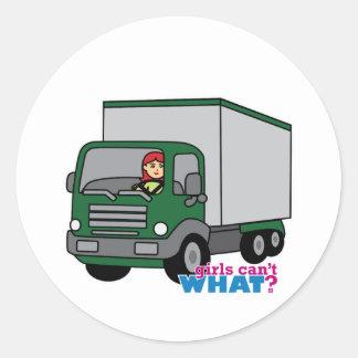 Truck Driver - Green Truck Round Stickers