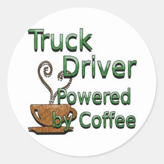 Truck Driver Powered by Coffee Round Sticker