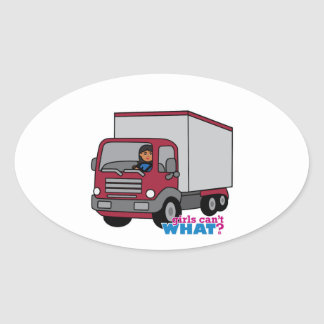 Truck Driver - Red Truck Oval Sticker