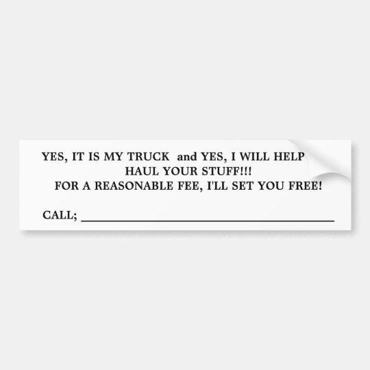 TRUCK FOR HIRE,bumper sticker