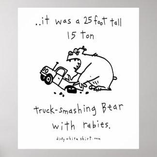 Truck-Smashing Bear Poster