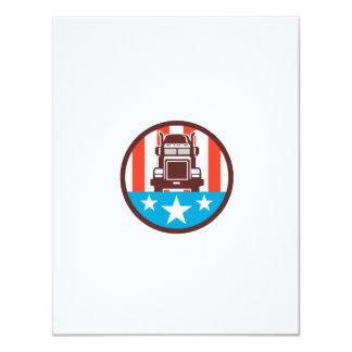 Truck USA Flag Circle Retro 11 Cm X 14 Cm Invitation Card