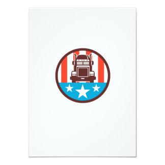 Truck USA Flag Circle Retro 11 Cm X 16 Cm Invitation Card