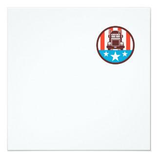 Truck USA Flag Circle Retro 13 Cm X 13 Cm Square Invitation Card