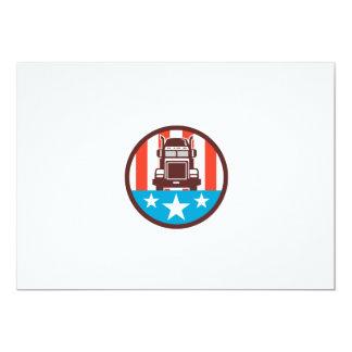 Truck USA Flag Circle Retro 13 Cm X 18 Cm Invitation Card