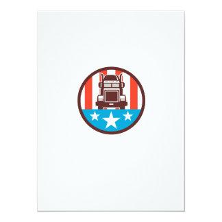 Truck USA Flag Circle Retro 14 Cm X 19 Cm Invitation Card