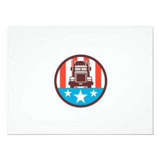 Truck USA Flag Circle Retro 17 Cm X 22 Cm Invitation Card