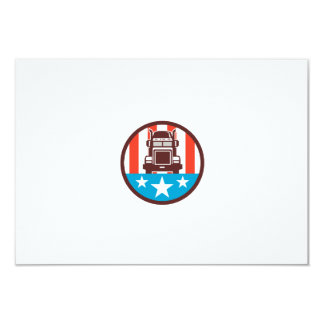 Truck USA Flag Circle Retro 9 Cm X 13 Cm Invitation Card