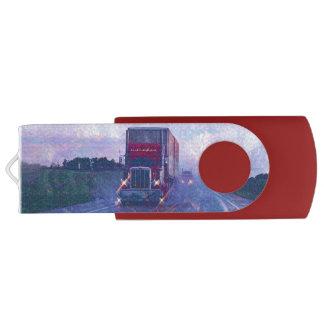 Trucker Cargo Truck Lorry Heavy Transport Gift 3 Swivel USB 2.0 Flash Drive