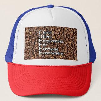 Trucker Hat COFFEE beans Christ Offers Forgiveness