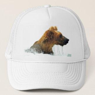 trucker hat w/ grizzly bear head