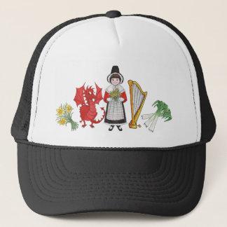Trucker Hat: Welsh, Daffodils, Dragon, Leeks, Harp Trucker Hat