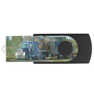 Trucker Lumber Truck Lorry Heavy Transport Gift 7 Swivel USB 2.0 Flash Drive