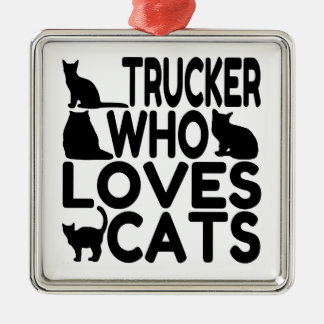 Trucker Who Loves Cats Christmas Ornament