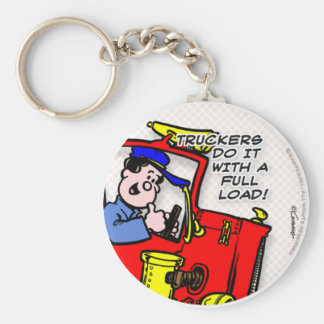 Truckers Do It Basic Round Button Key Ring