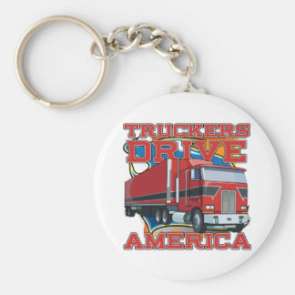 Truckers Drive America Basic Round Button Key Ring