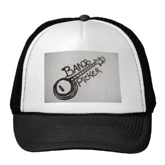 trucker's hat with banjo design and BANJO PICKER