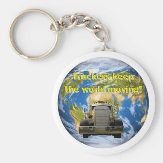 Truckers Keep The World Moving Basic Round Button Key Ring
