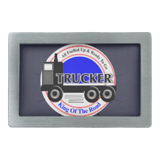Truckers Novelty King Of The Road Graphic Rectangular Belt Buckle