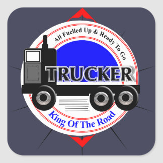 Truckers Novelty King Of The Road Graphic Square Sticker