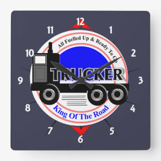 Truckers Novelty King Of The Road Graphic Square Wall Clock