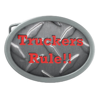 """Truckers Rule!!"" belt buckle"