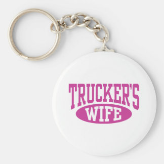 Trucker's Wife Basic Round Button Key Ring