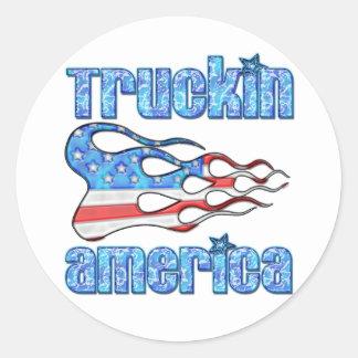Truckin USA Classic Round Sticker