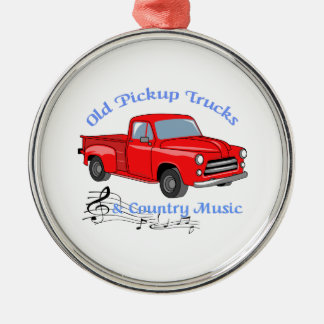 Trucks And Country Music Silver-Colored Round Decoration