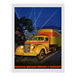 Trucks and Trailers 1938 Vintage ad Poster