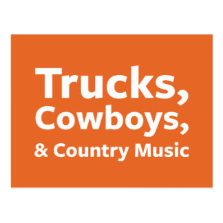Trucks, Cowboys and Country Music Postcard