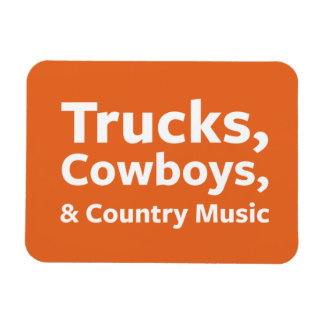 Trucks, Cowboys and Country Music Rectangular Photo Magnet