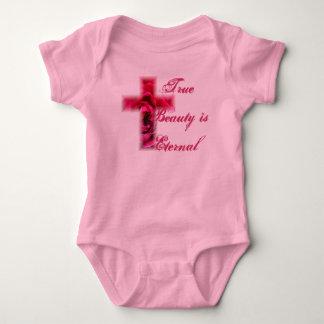 True Beauty is Eternal Rose Cross Baby Bodysuit