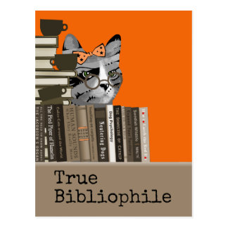 True Bibliophile - Cat with Books Postcard
