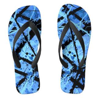 TRUE BLUE (an abstract art design) ~ Flip Flops