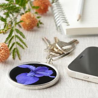 True Blue Iris Silver-Colored Round Key Ring