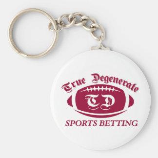 True Degenerate Sports Betting Basic Round Button Key Ring
