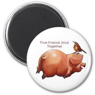 True Friends Stick Together: Cute Pig With Bird 6 Cm Round Magnet