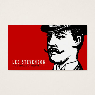 True Gentleman with Moustache and Bowler Hipster Business Card