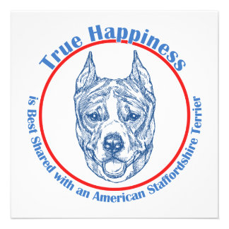 True Happiness w American Staffordshire cropped Personalized Invitation