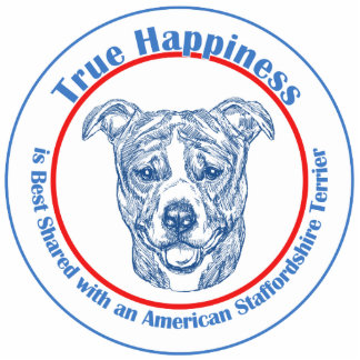 True Happiness w/ American Staffordshire uncropped Photo Sculpture Decoration