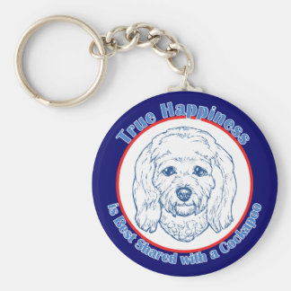 True Happiness with a Cockapoo Basic Round Button Key Ring