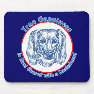 True Happiness with a Dachshund Longhair Mouse Pads