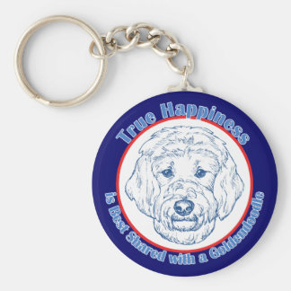 True Happiness with a Goldendoodle Basic Round Button Key Ring