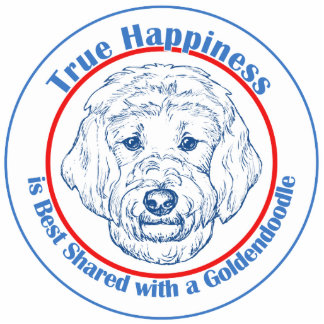 True Happiness with a Goldendoodle Photo Sculpture Decoration