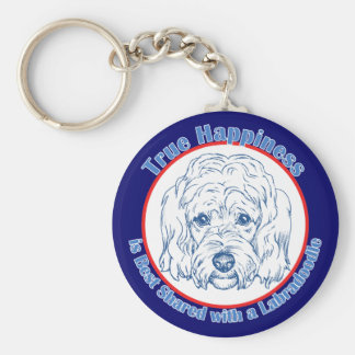 True Happiness with a Labradoodle Basic Round Button Key Ring