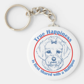 True Happiness with a Maltipoo Basic Round Button Key Ring