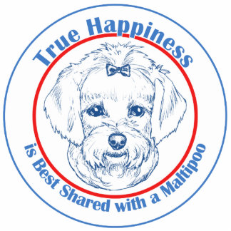 True Happiness with a Maltipoo Photo Sculpture Decoration