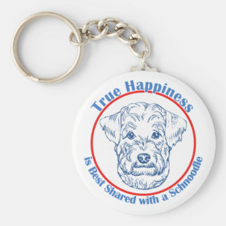 True Happiness with a Schnoodle Basic Round Button Key Ring
